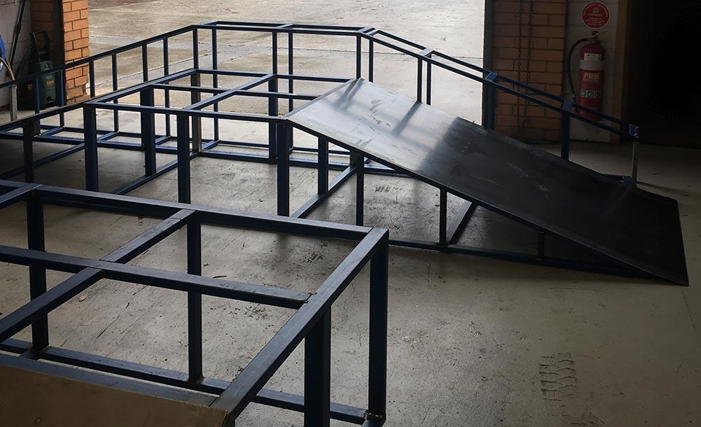 Manufacturing of skate ramps in Skateramps Australia workshop