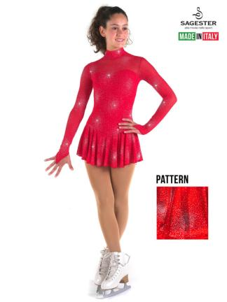 cdeb2aaa5e6a ... SAGESTER Red Figure Skating Dress #177, Hand-made in Italy, Glitter Net  $149.95 ...