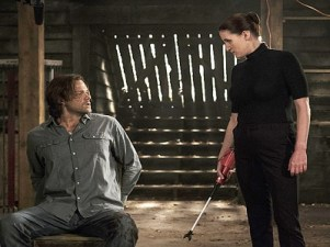 """Supernatural -- """"Keep Calm and Carry On"""" -- SN1201b_0113.jpg -- Pictured (L-R): Jared Padalecki as Sam and Bronagh Waugh as Ms. Watt -- Photo: Katie Yu/The CW -- © 2016 The CW Network, LLC. All Rights Reserved"""