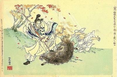 猪狩りをする雄略天皇