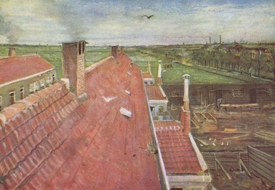 『屋根、ハーグのアトリエからの眺め』1882年、ハーグ。