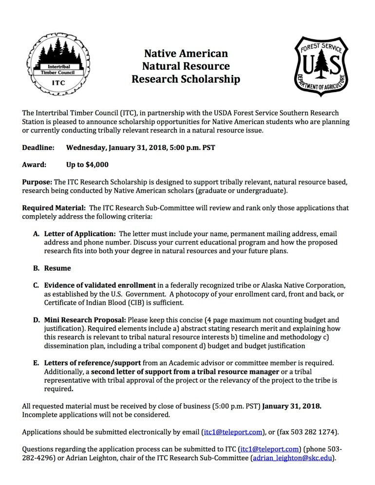 2018 ITC Research Scholarship – SKC TREES