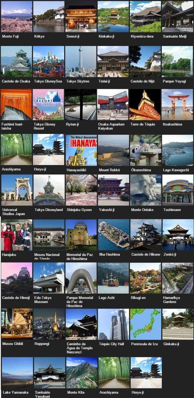 Os mais populares pontos turísticos do Japão