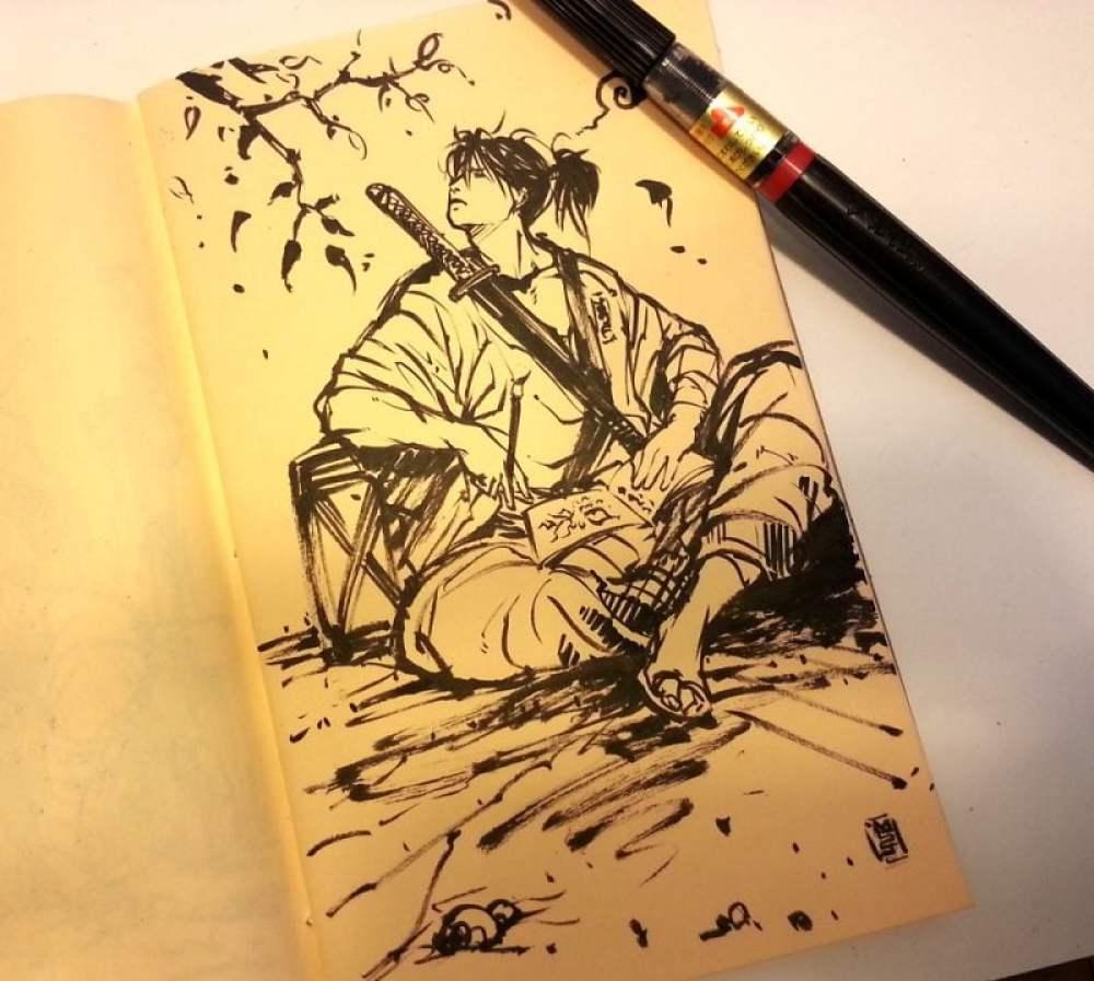 Bushido - 武士道 - O caminho Samurai - sketchbook  sketching samurai by mycks d8d35ue 2