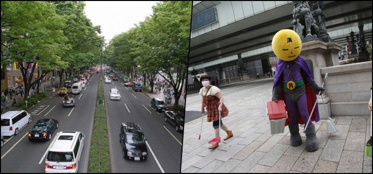 Pais e alunos também limpam arredores da escola no Japão