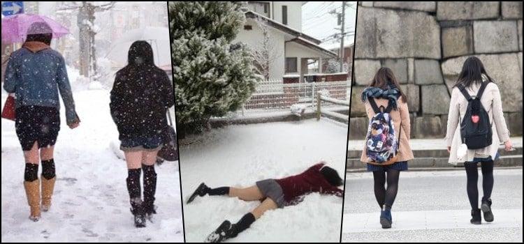 Por que as estudantes japonesas usam saias curtas no inverno?