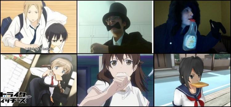 Personagens de anime correndo com um pão na boca