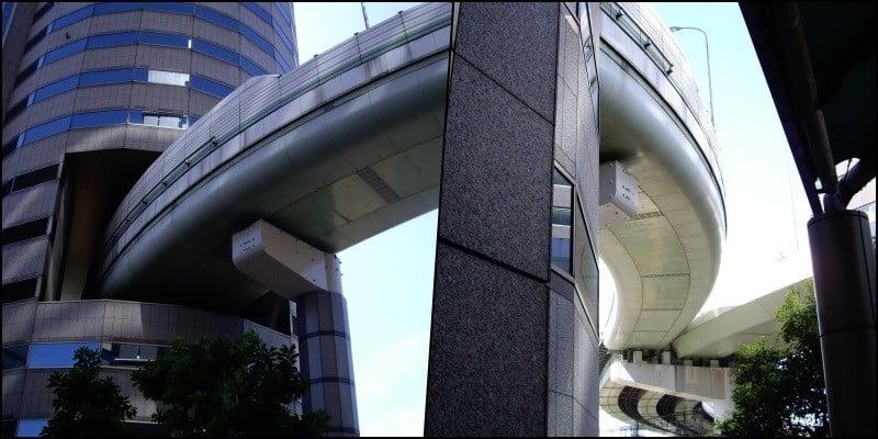 Hanshin Expressway - A via expressa que atravessa um prédio 3