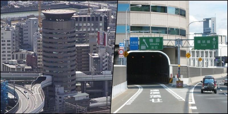 Hanshin Expressway - A via expressa que atravessa um prédio 2