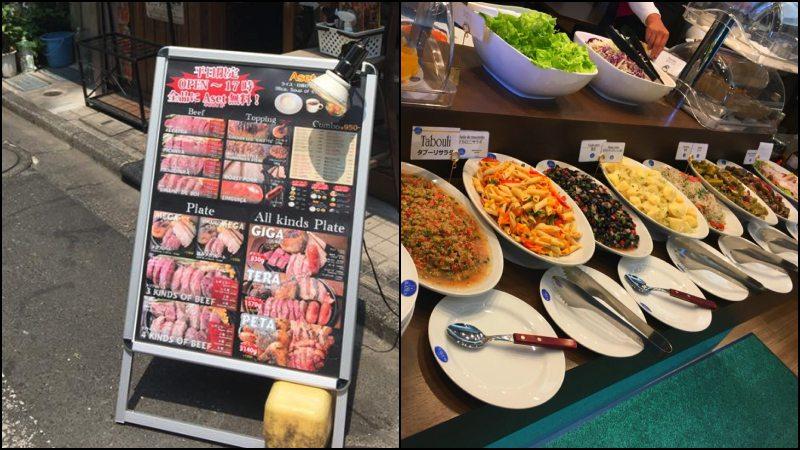 Cardápio e pratos em um restaurante brasileiro no japão