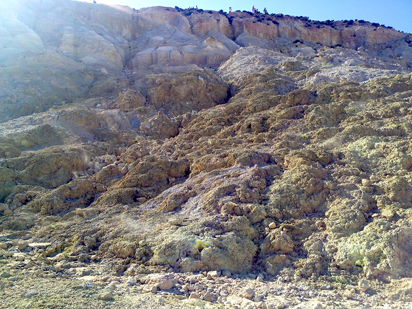 The rocks are stained yellow by sulpher crystals