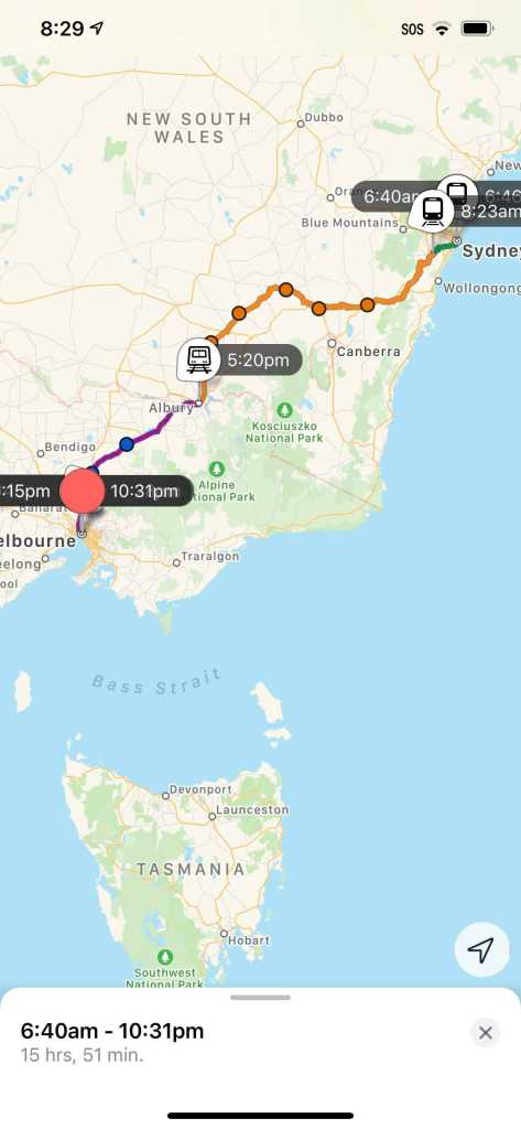 A map showing the trip from Sydney to Melbourne