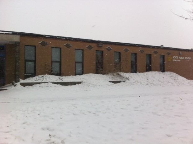 Joyce Public School on a snowy day.
