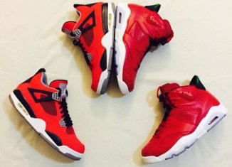 Two pairs of red shoes.