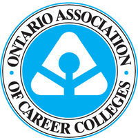 Blue, white and black logo for the Ontario Association of Career Colleges.