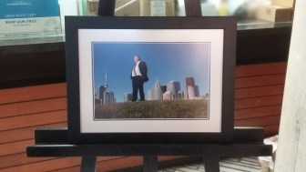 A photo of Rob Ford overlooking Toronto.