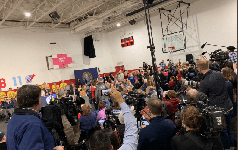 Protesters interrupt Biden during his first NH event