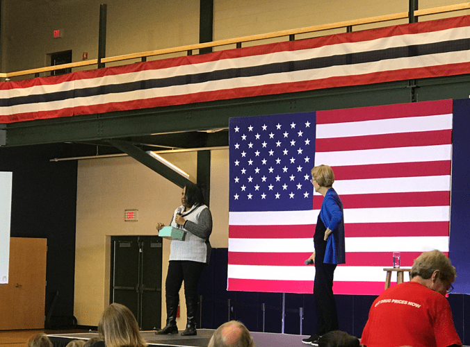 """She is an impressive woman and candidate;"" Americans react to Warren's GOTV in Nashua, NH"