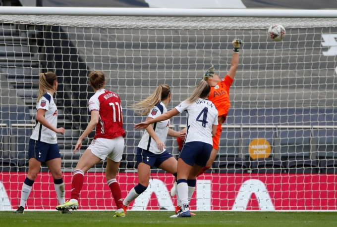 Vivianne Miedema, one of the biggest stars in the WSL, scores Arsenal's second goal against Tottenham