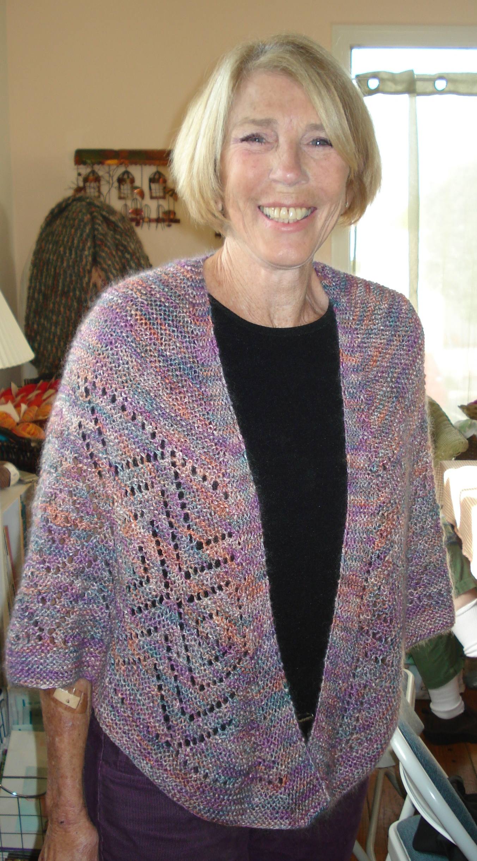 Carole modeling Terry's beautiful shawl