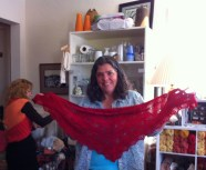 Ellen and her version of the Shaelyn Shawl