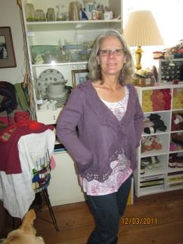 Susanne modeling sweater that Margot knit