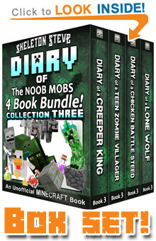 Read the Noob Mobs Box Set Sample Pack (All Third Books of FOUR SERIES) on Amazon NOW! Free Minecraft Book on Kindle Unlimited!