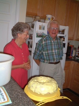 Grandparents and cake
