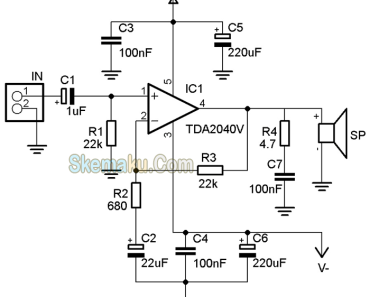 rangkaian amplifier TDA2040