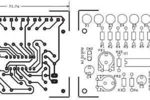 pcb rangkaian vu display 9 led untuk audio