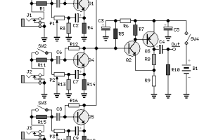 Rangkaian Mixer Audio 3 Channel Transistor
