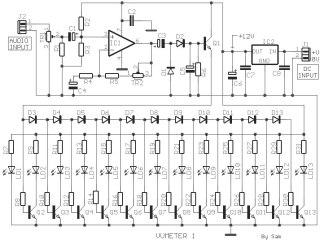 Rangkaian VU Display Audio 13 LED