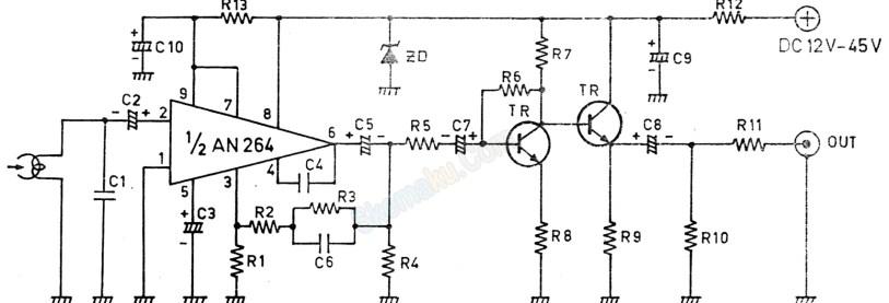 rangkaian pre-amp head