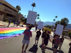Our view as we walked in the Palm Springs Pride Parade