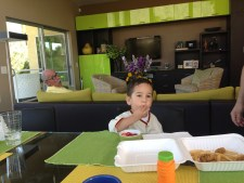 Theo eats and David peeks