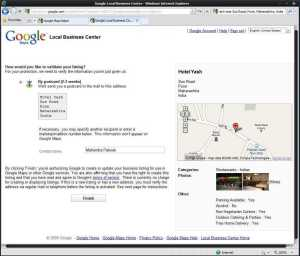Google Local Business Center Validation