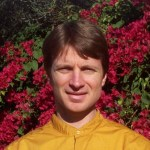 "Br. Scott, in the yellow habit ""smock"" of Self-Realization Fellowship monk"