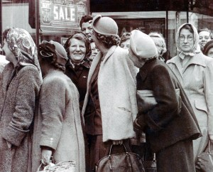1950s Bristol Shoppers queue to get a bargain in the sales. photo by brizzle born and bred on Flickr