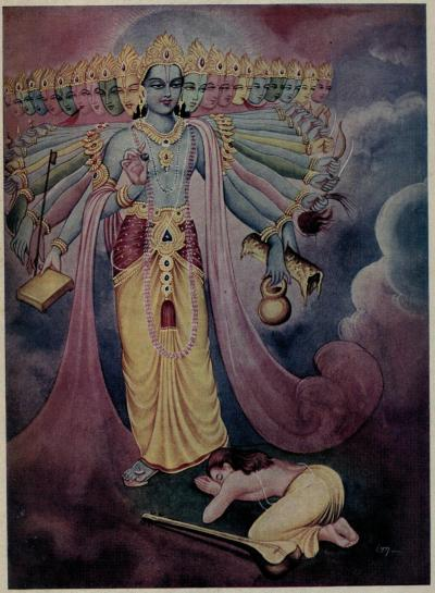 Narada prostrating before Vishvamurti, Public Domain.