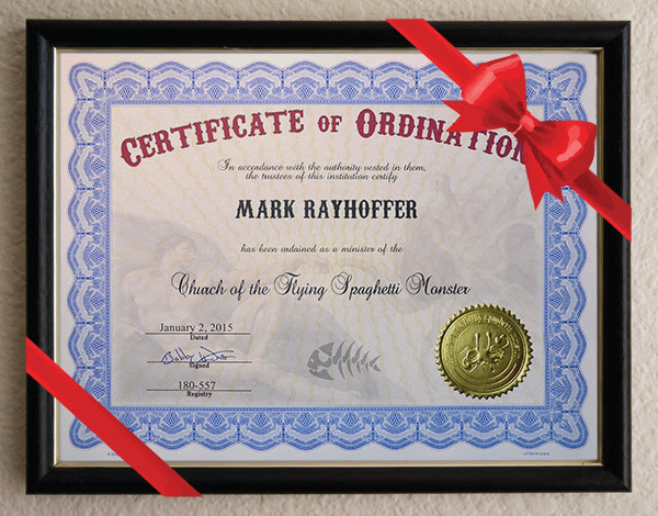 Ordination & Holiday Ecards Courtesy Church of the Flying Spaghetti Monster