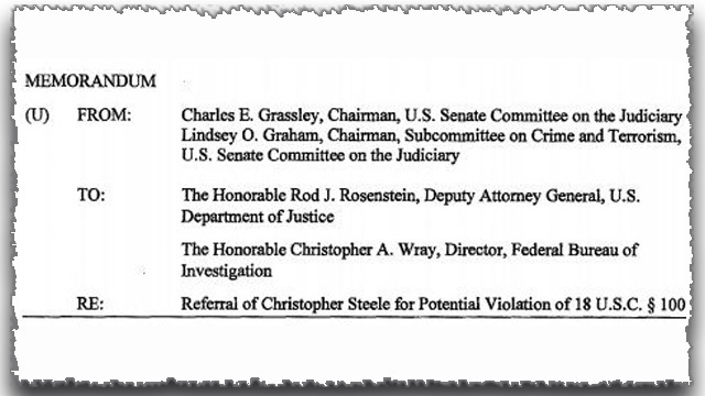 Grassley Memo: Sen. Feinstein Refutes Criminal Referral of Christopher Steele