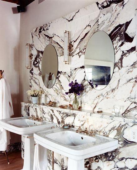 Selldorf Architects East Village Townhouse Apartment Bathroom Vanity - Marble slab bathroom