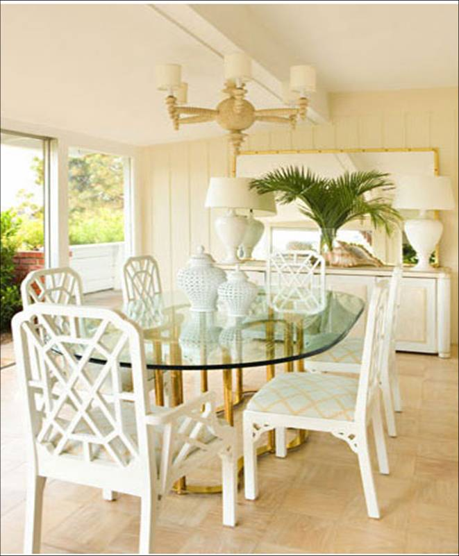 Kristen Hutchins Design Beach House Dining Room Paneled Walls Cream White Oval Table Gold Base Glossy Lacquer Chairs Geometric Seat Upholstery