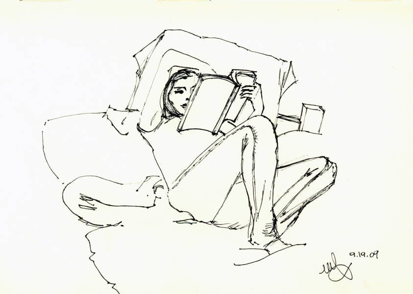 Amina reading. Ink on paper. Sept.19,2009