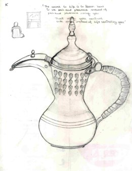 Coffee Carrier (delle). Graphite on paper. Kuwait. January 2010
