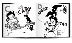 captain crow pirate matey arrr funny humor black and white abc childrens book layout design characters illustration cartoon comic raven letters learning education sketchbookjack art insides anatomy pen and ink bold design funny humorous cartoon comic book layout book mockup book test typography typographic bold strong abcs insides innards carp fish giant dart pub games ear hearing letters