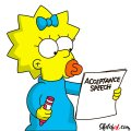 How to draw Maggie Simpson writing the acceptance speech