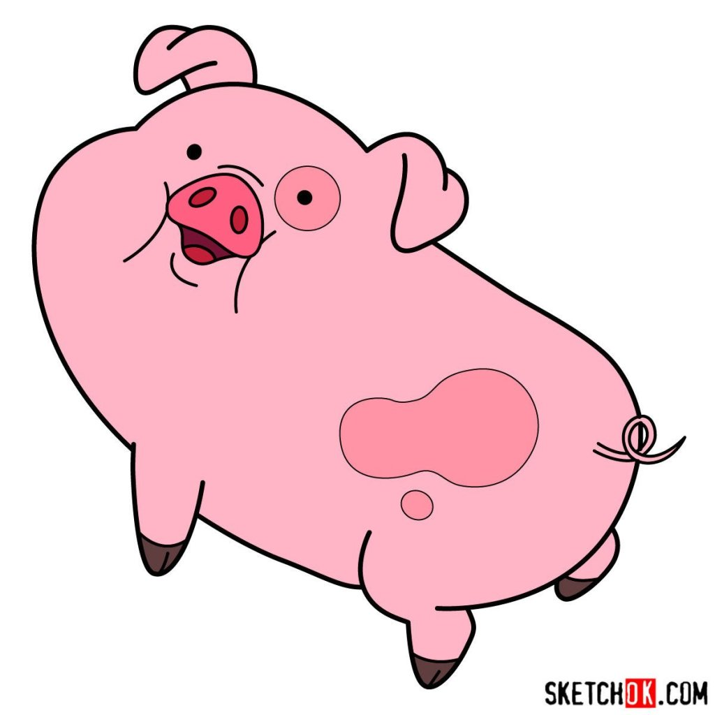 How to draw Waddles the pig