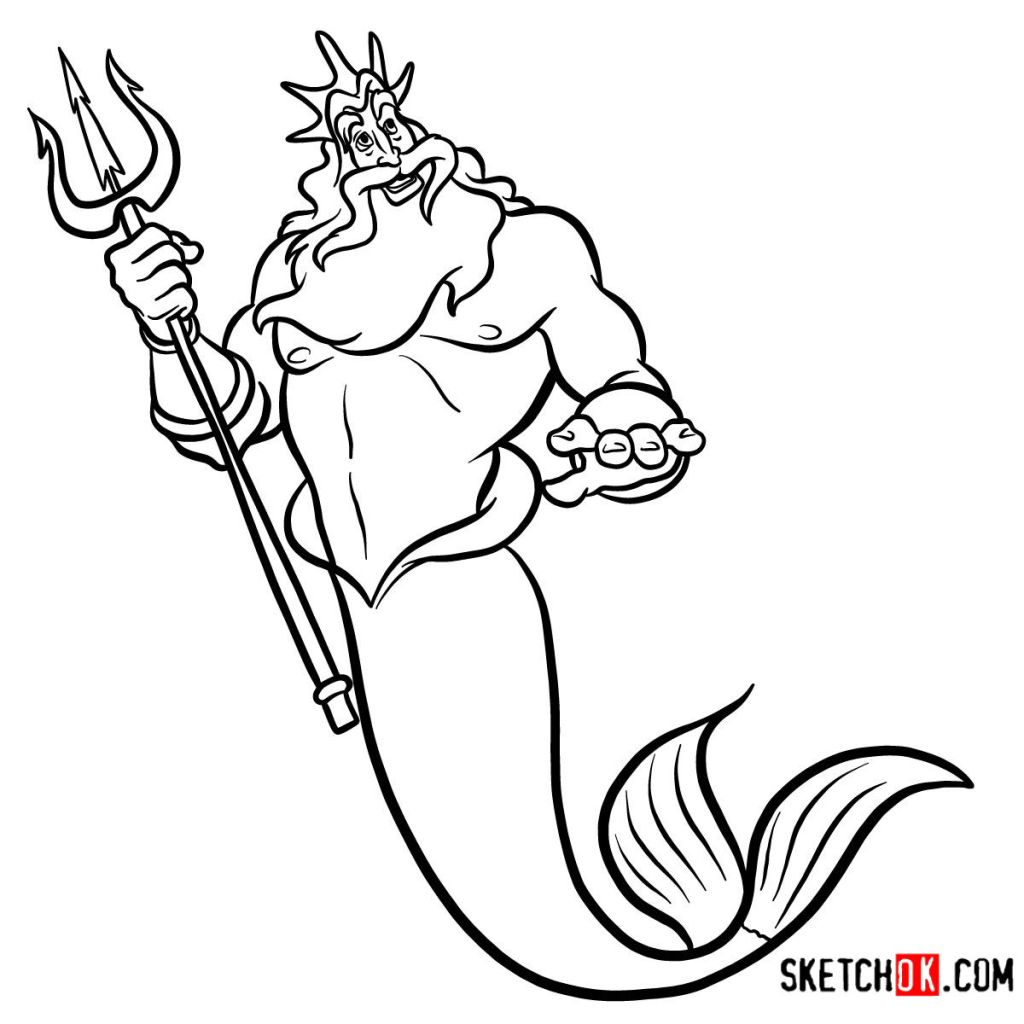 How to draw King Triton | The Little Mermaid