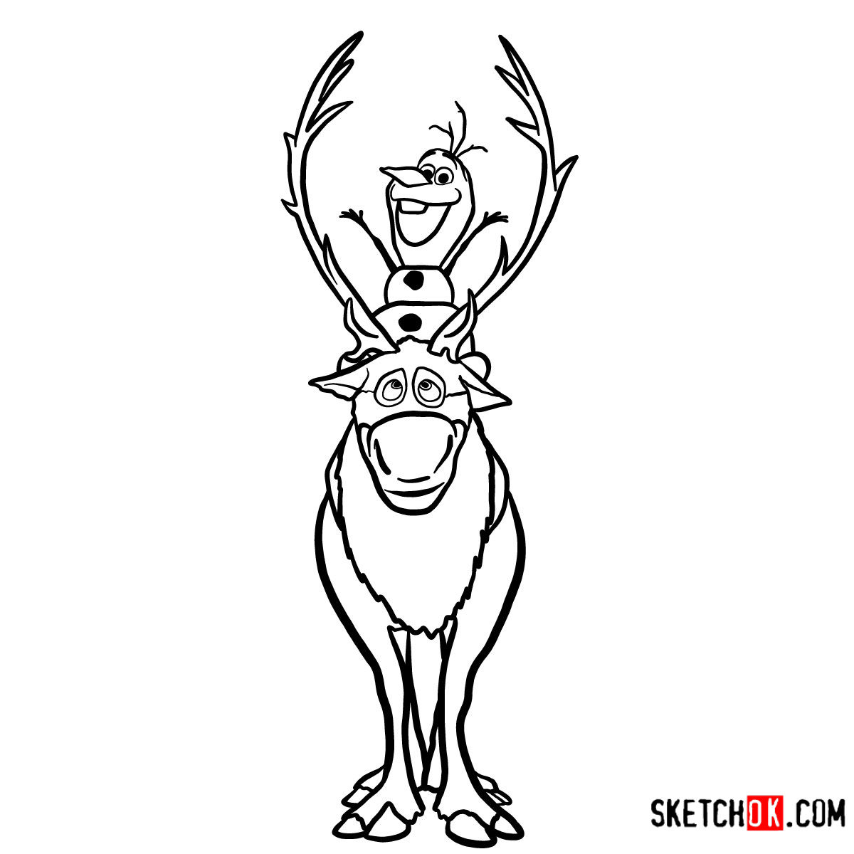 How To Draw Olaf Riding Sven Frozen Sketchok Step By Step Drawing Tutorials